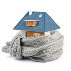 Haus umhüllt mit Schal